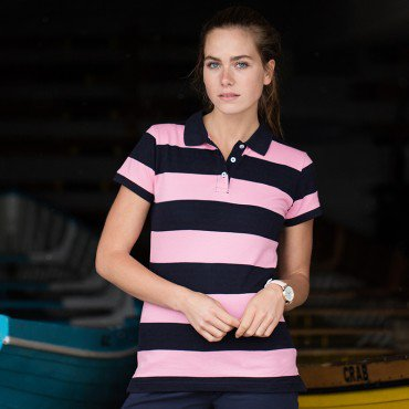 Ladies Stripe Pique Polo