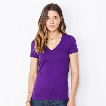 Womens Jersey Short Sleeve Deep V-Neck Tee